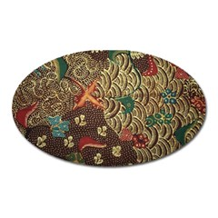 Art Traditional Flower  Batik Pattern Oval Magnet by BangZart