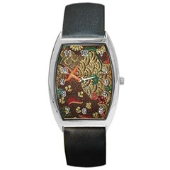 Art Traditional Flower  Batik Pattern Barrel Style Metal Watch