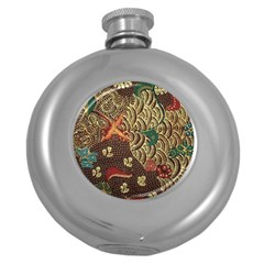 Art Traditional Flower  Batik Pattern Round Hip Flask (5 Oz) by BangZart