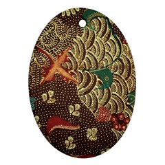 Art Traditional Flower  Batik Pattern Oval Ornament (two Sides) by BangZart