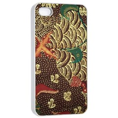 Art Traditional Flower  Batik Pattern Apple Iphone 4/4s Seamless Case (white) by BangZart
