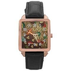 Art Traditional Flower  Batik Pattern Rose Gold Leather Watch