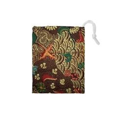 Art Traditional Flower  Batik Pattern Drawstring Pouches (small)