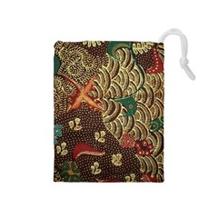 Art Traditional Flower  Batik Pattern Drawstring Pouches (medium)  by BangZart
