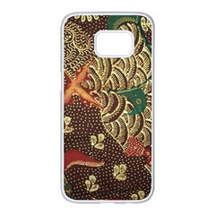 Art Traditional Flower  Batik Pattern Samsung Galaxy S7 Edge White Seamless Case by BangZart