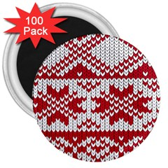 Crimson Knitting Pattern Background Vector 3  Magnets (100 Pack)