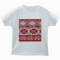 Crimson Knitting Pattern Background Vector Kids White T Shirts