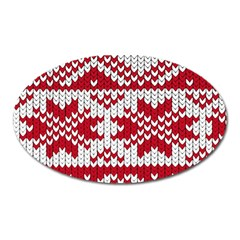 Crimson Knitting Pattern Background Vector Oval Magnet