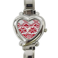 Crimson Knitting Pattern Background Vector Heart Italian Charm Watch