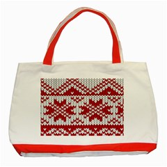 Crimson Knitting Pattern Background Vector Classic Tote Bag (red)