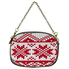 Crimson Knitting Pattern Background Vector Chain Purses (one Side)