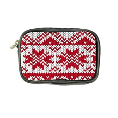 Crimson Knitting Pattern Background Vector Coin Purse