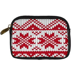 Crimson Knitting Pattern Background Vector Digital Camera Cases by BangZart