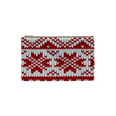 Crimson Knitting Pattern Background Vector Cosmetic Bag (small)