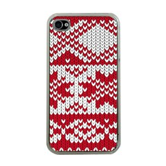 Crimson Knitting Pattern Background Vector Apple Iphone 4 Case (clear)