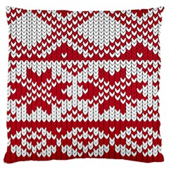 Crimson Knitting Pattern Background Vector Large Cushion Case (one Side) by BangZart