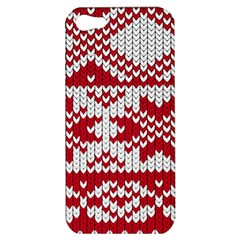 Crimson Knitting Pattern Background Vector Apple Iphone 5 Hardshell Case by BangZart