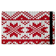 Crimson Knitting Pattern Background Vector Apple Ipad 2 Flip Case by BangZart