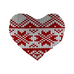 Crimson Knitting Pattern Background Vector Standard 16  Premium Flano Heart Shape Cushions