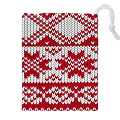 Crimson Knitting Pattern Background Vector Drawstring Pouches (xxl) by BangZart