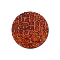 Crocodile Skin Texture Rubber Round Coaster (4 Pack)