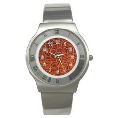 Crocodile Skin Texture Stainless Steel Watch