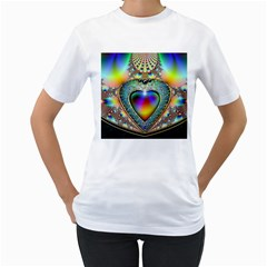 Rainbow Fractal Women s T Shirt (white) (two Sided)