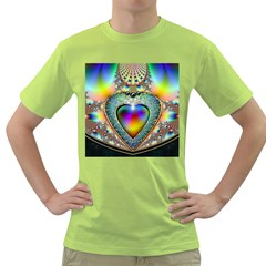 Rainbow Fractal Green T Shirt