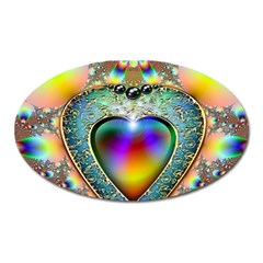 Rainbow Fractal Oval Magnet by BangZart