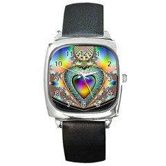 Rainbow Fractal Square Metal Watch