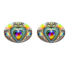 Rainbow Fractal Cufflinks (oval) by BangZart