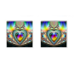 Rainbow Fractal Cufflinks (square)