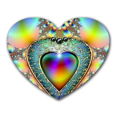 Rainbow Fractal Heart Mousepads