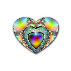 Rainbow Fractal Rubber Coaster (heart)  by BangZart