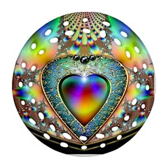 Rainbow Fractal Round Filigree Ornament (two Sides) by BangZart