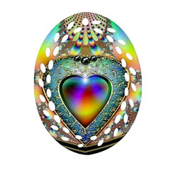 Rainbow Fractal Oval Filigree Ornament (two Sides) by BangZart