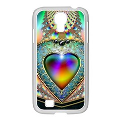 Rainbow Fractal Samsung Galaxy S4 I9500/ I9505 Case (white) by BangZart