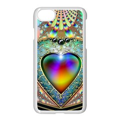 Rainbow Fractal Apple Iphone 7 Seamless Case (white) by BangZart