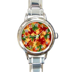 Autumn Leaves Round Italian Charm Watch