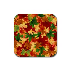 Autumn Leaves Rubber Coaster (square)  by BangZart