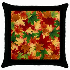 Autumn Leaves Throw Pillow Case (black)