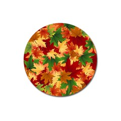 Autumn Leaves Magnet 3  (round) by BangZart