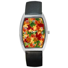 Autumn Leaves Barrel Style Metal Watch by BangZart