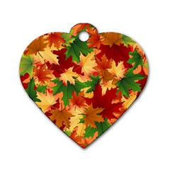 Autumn Leaves Dog Tag Heart (two Sides) by BangZart