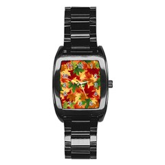 Autumn Leaves Stainless Steel Barrel Watch by BangZart