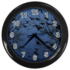 Crow Flock  Wall Clocks (black) by Valentinaart