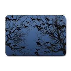 Crow Flock  Small Doormat  by Valentinaart