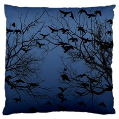 Crow Flock  Large Flano Cushion Case (two Sides) by Valentinaart