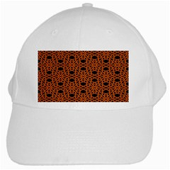 Triangle Knot Orange And Black Fabric White Cap