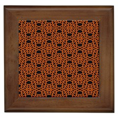 Triangle Knot Orange And Black Fabric Framed Tiles